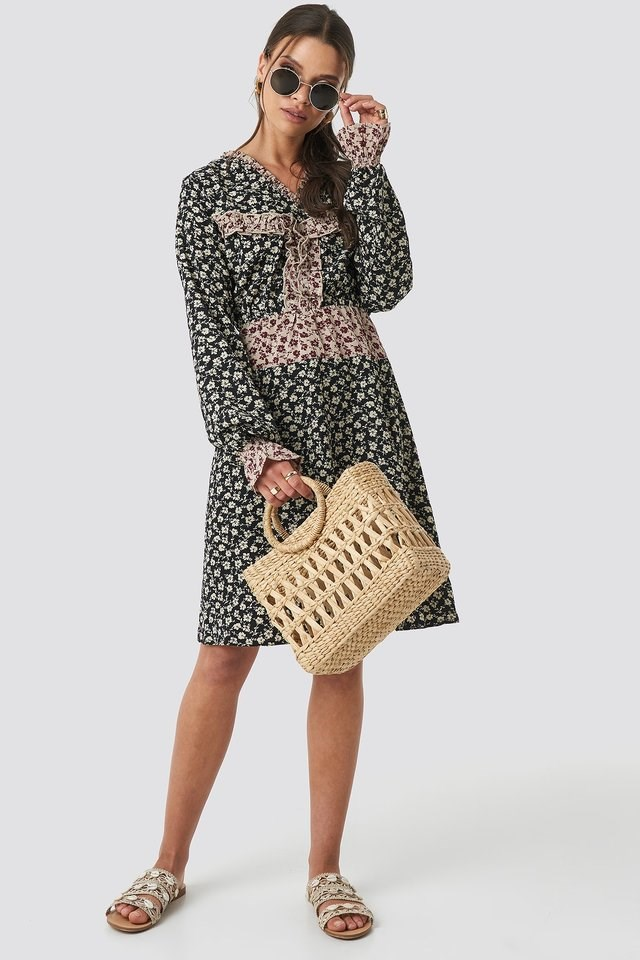 Patch-Print Frill Detail Dress Outfit.