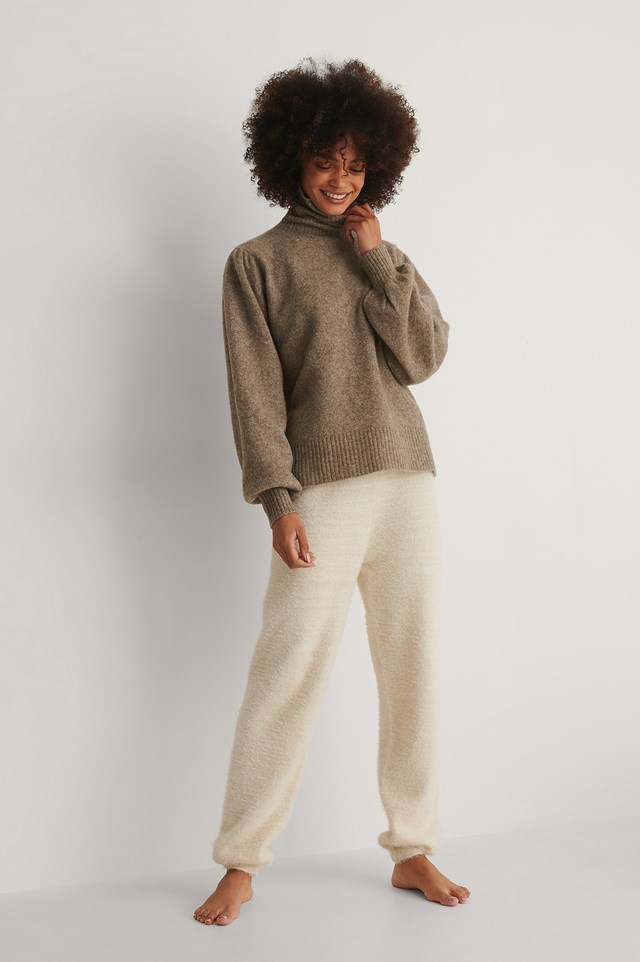 Wool Blend Knitted Polo Neck Outfit!