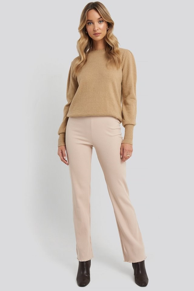 Flare Ribbed Pants Outfit.