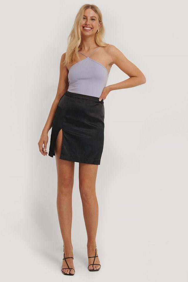 Side Slit Mini Skirt Outfit.