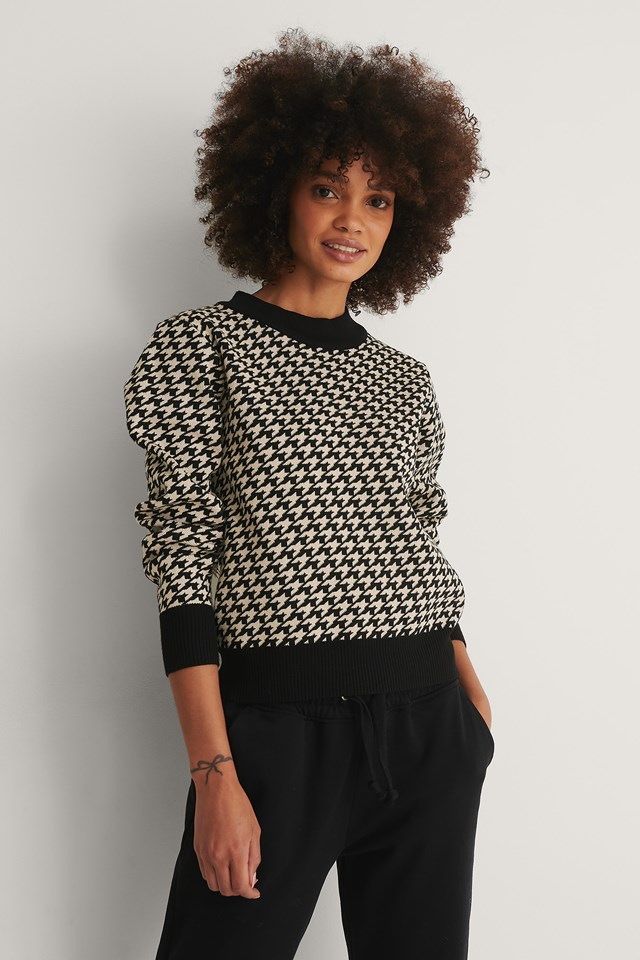 Houndstooth Knitted Sweater