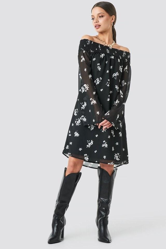 Floral Printed Off shoulder Dress Outfit.