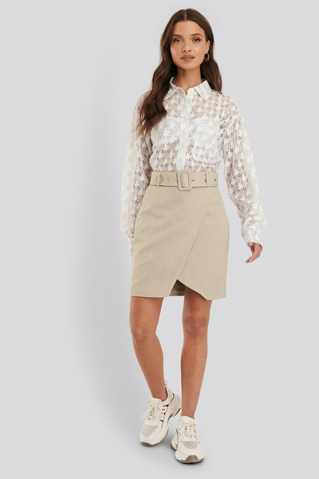 Belted Overlap Mini Skirt Outfit.