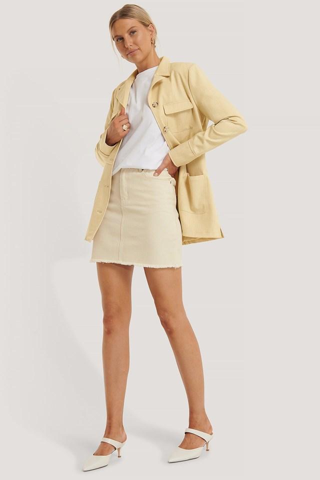 Fringed Denim Mini Skirt Outfit.