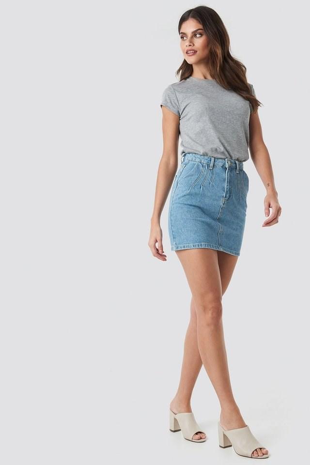 Stitch Detail Mini Denim Skirt Outfit.