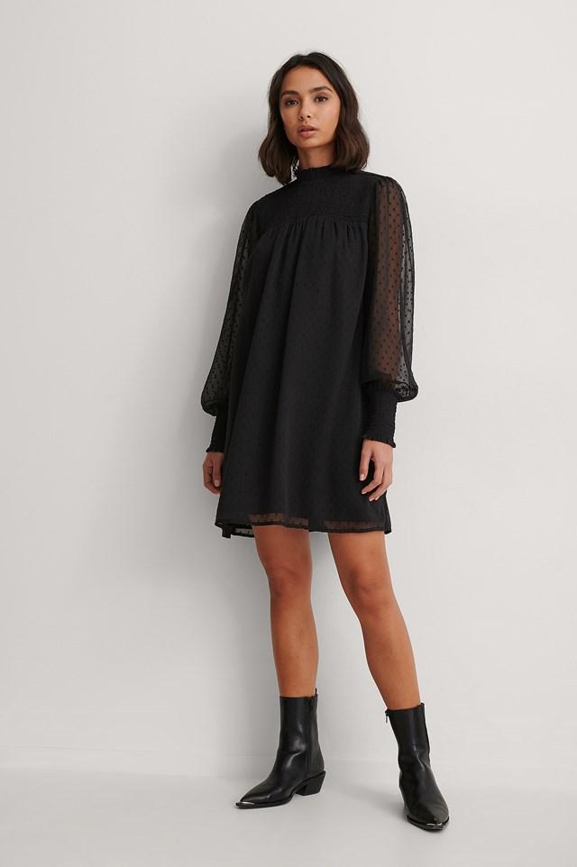 dobby smocked dress