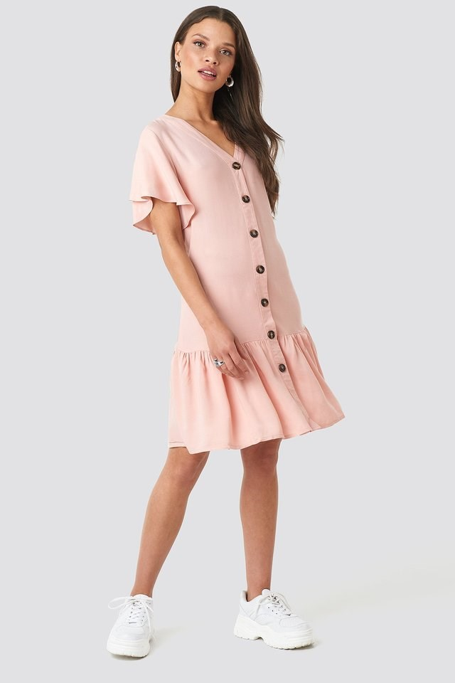 Sleeves Flywheel Shirt Dress Pink.