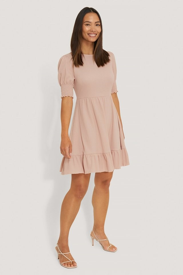 Smock Sleeve Frill Dress Pink.