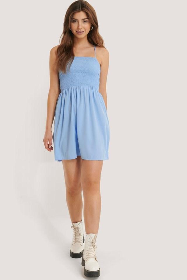 Smocked Strap Dress Blue.