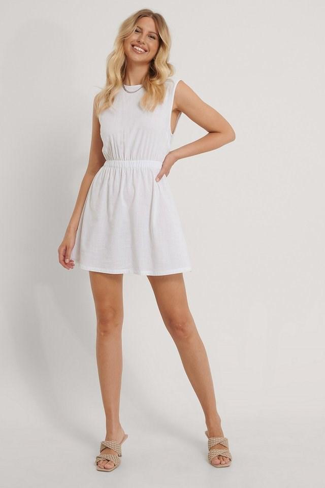 Sleeveless Mini Dress White.