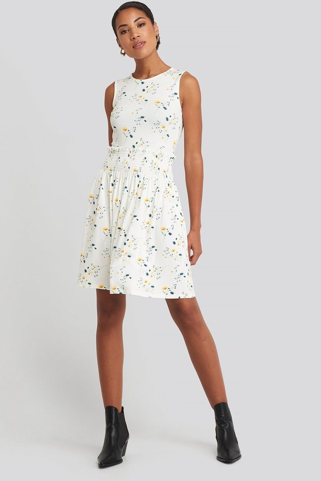 Sleeveless Floral Print Skater Dress White.