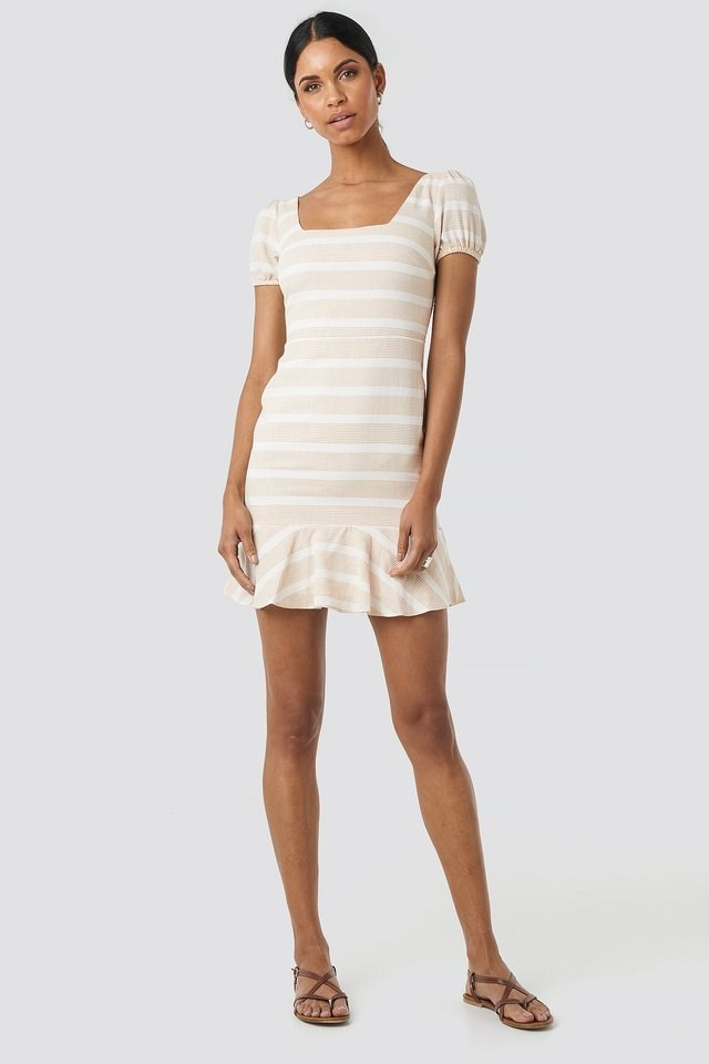 Sleeve Detail Mini Dress Beige.