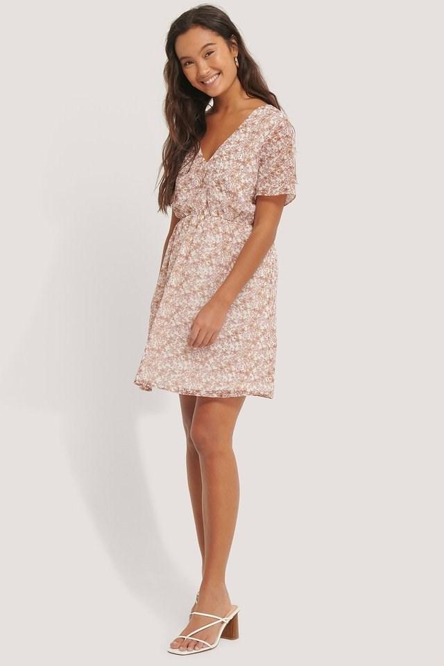 Short Sleeve V-Neck Mini Dress Multicolor.