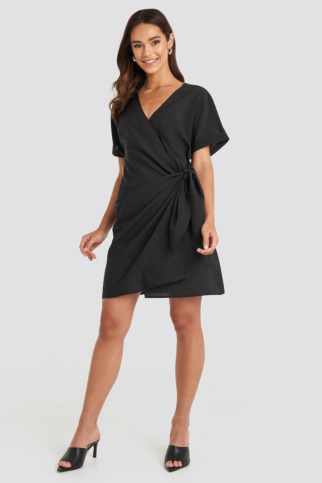 Overlap Knot Mini Dress Outfit.
