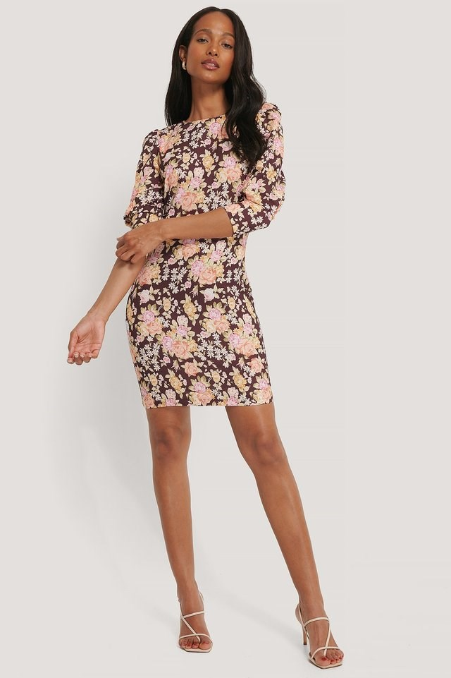 Flower Pattern Mini Dress Outfit.