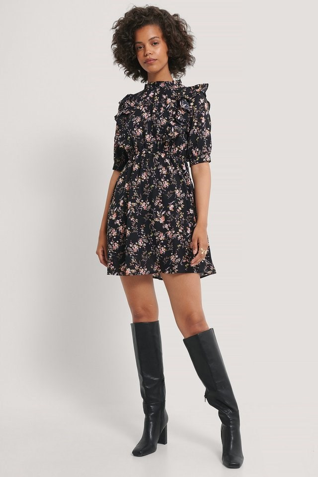High Neck Flounce Mini Dress Outfit.