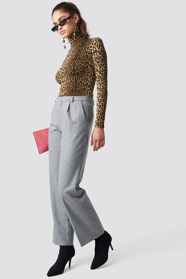 Creased Wide Leg Pants with Leo Polo Top