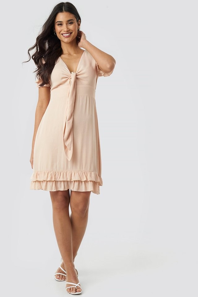 Knot Detailed Mini Dress Outfit.