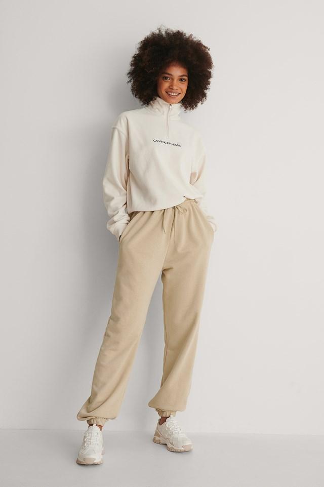 Calvin Klein Polar Fleece Half Zip Sweater Outfit!