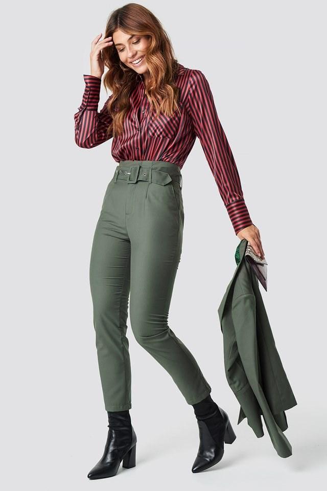 High Waist Belted Pants with Collarless Blazer