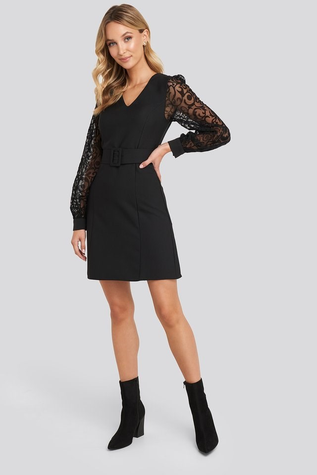 Lace Sleeve Detail Dress Outfit.