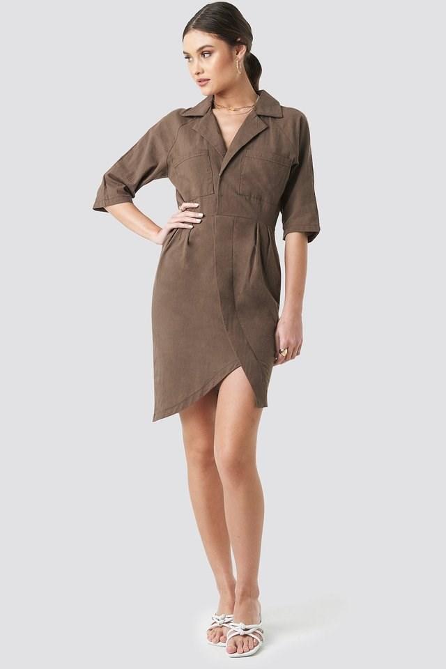 Linen Look Raglan Sleeve Shirt Dress Outfit.