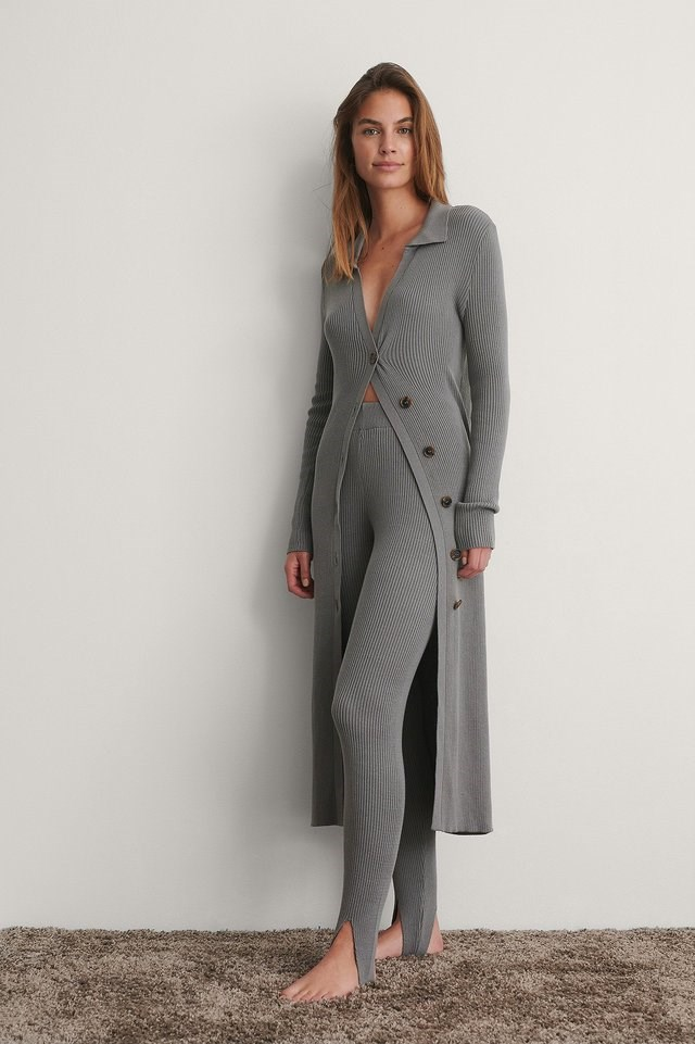 Side Buttoned Long Knit Outfit.