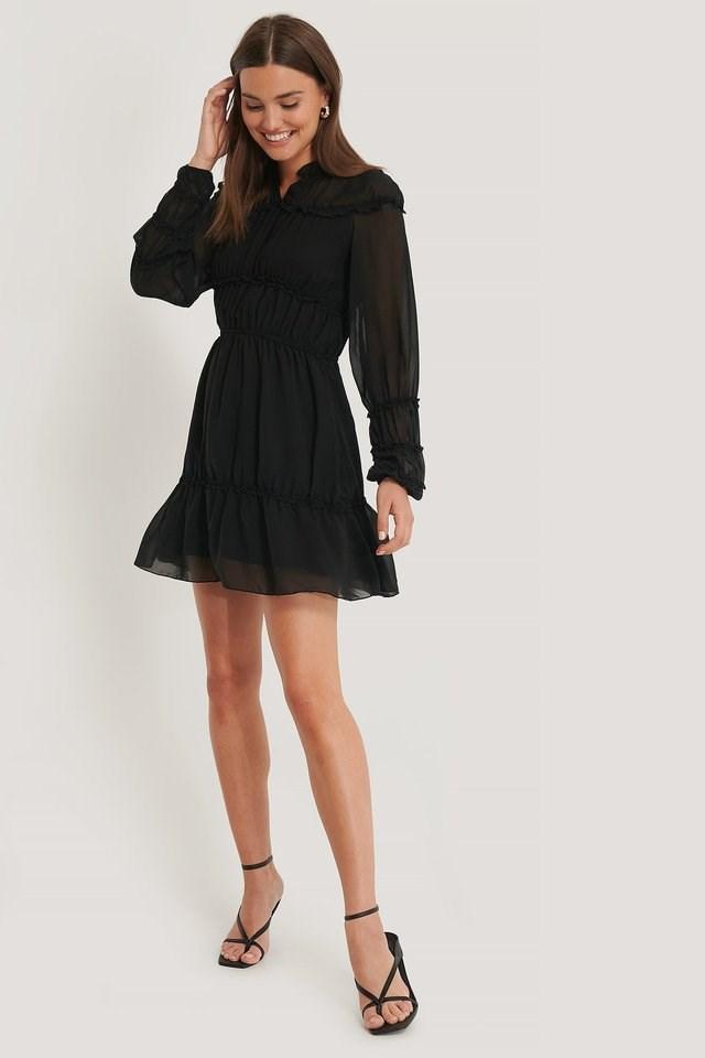 Frill Detail LS Mini Dress Outfit.
