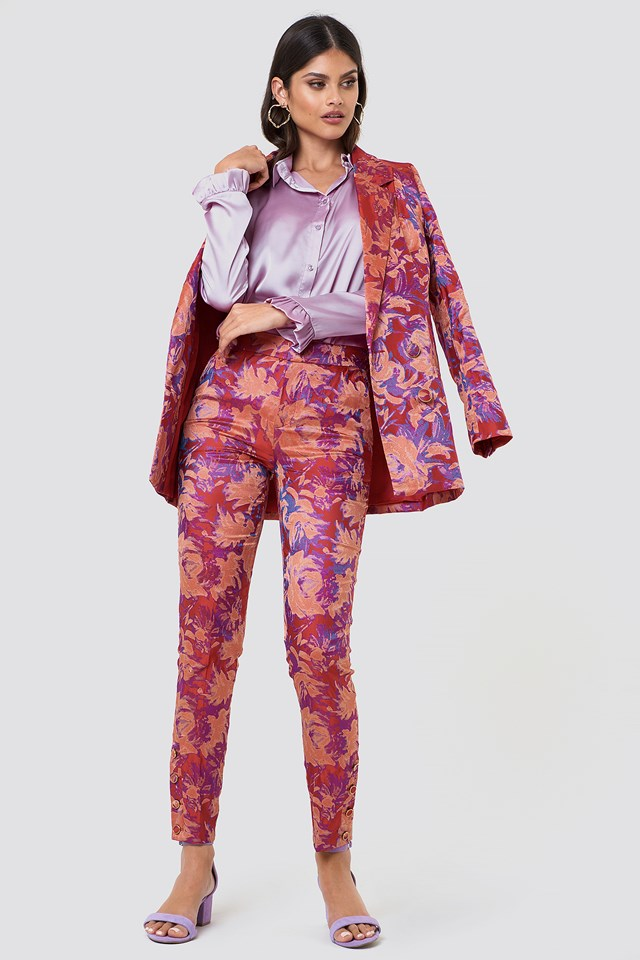 Floral Suit with Satin Blouse