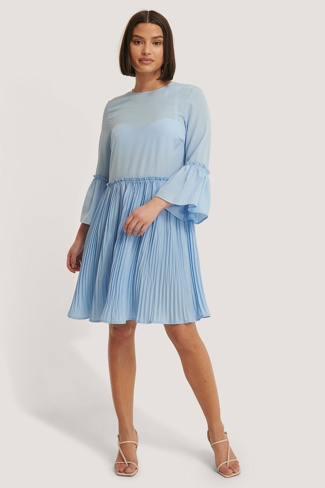 Pleated Round Neck Dress Outfit.