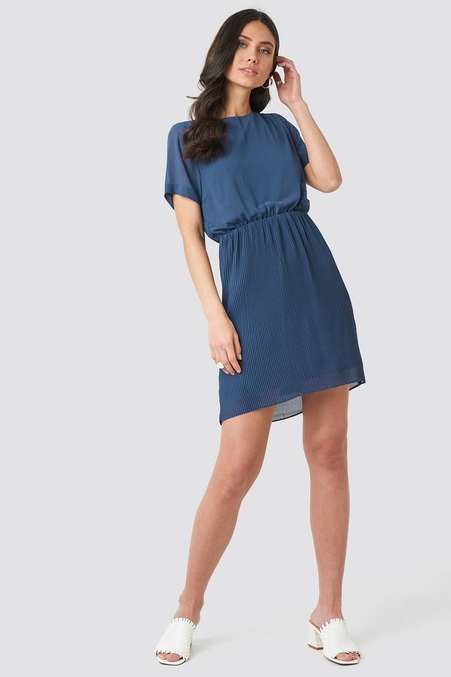Pleated Skirt Part Dress Outfit.