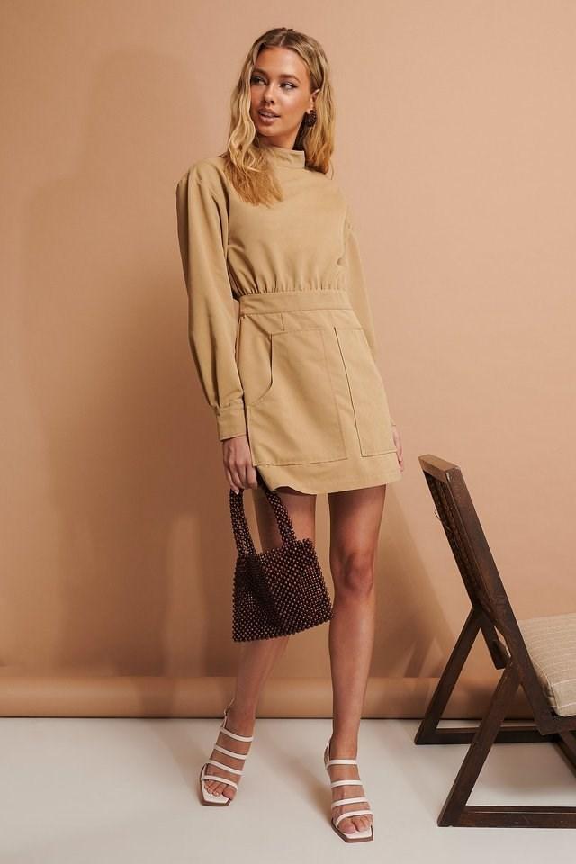 Pocket Detail Mini Dress Outfit.
