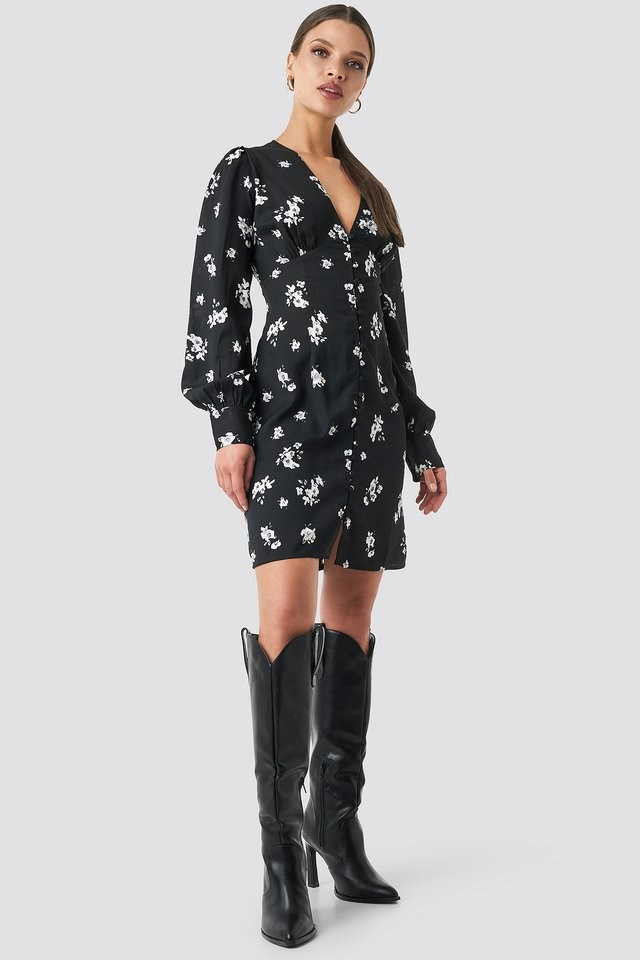 Printed Deep V-neck Front Button Dress Outfit.