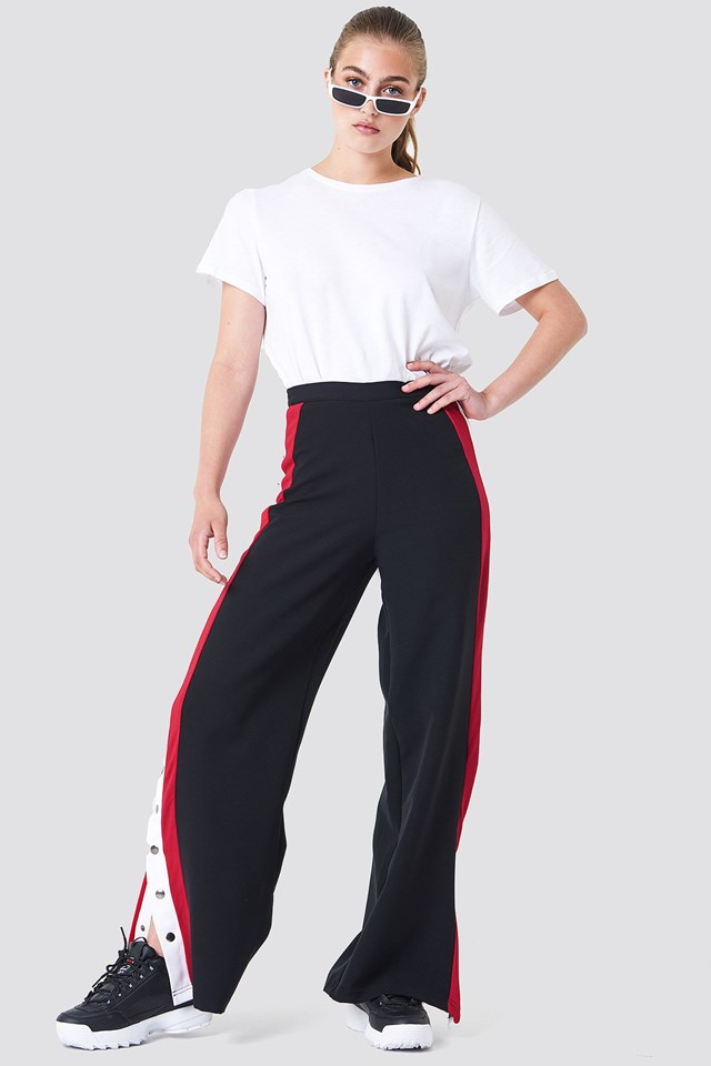 Button Detailed Stripe Pants