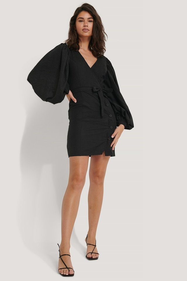 Puff Sleeve Tie Waist Dress Black.