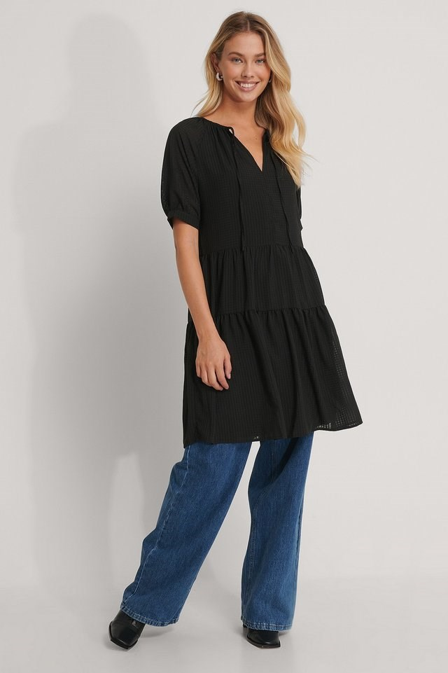 Ruffled V-Neck Mini Dress Black.