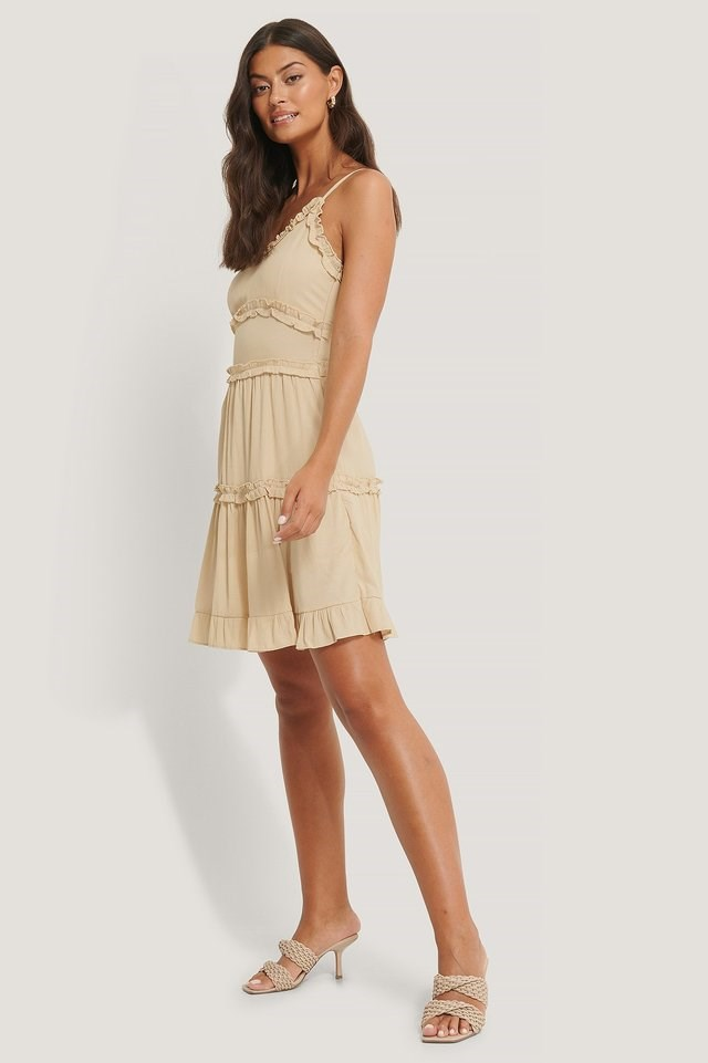 Ruffle Detailed Mini Dress Beige.