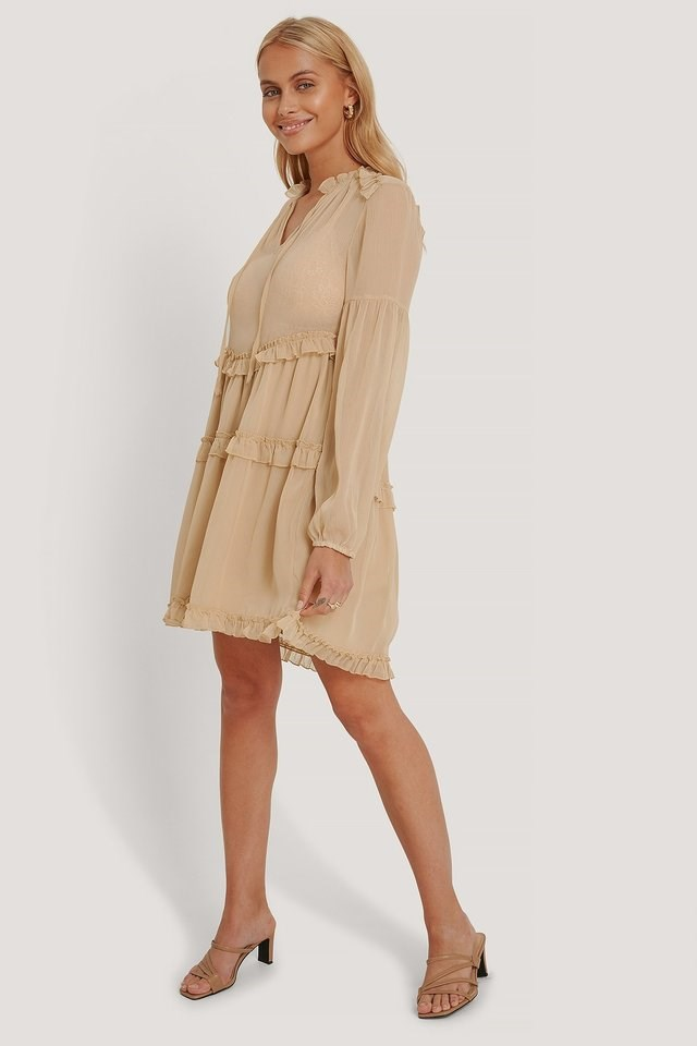 Ruffle Chiffon Dress Beige.