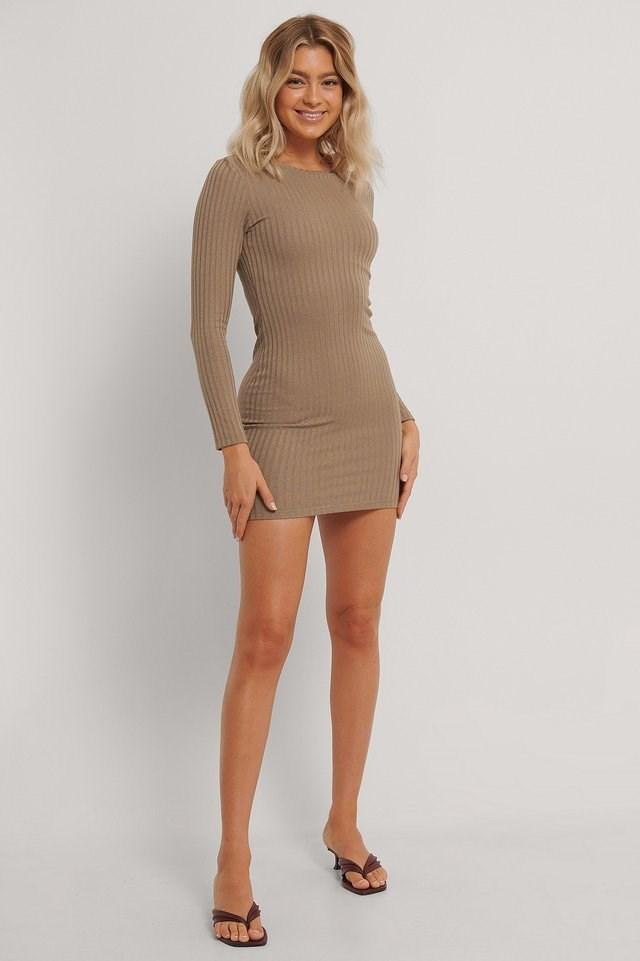Rib Mini Dress Brown.