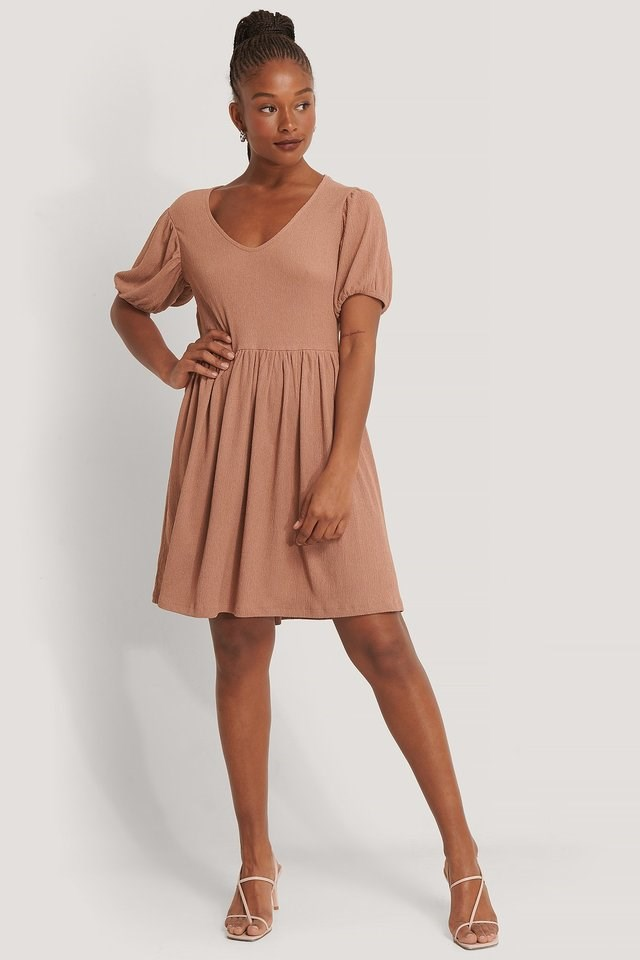 Puff Sleeve V-Neck Dress Pink.