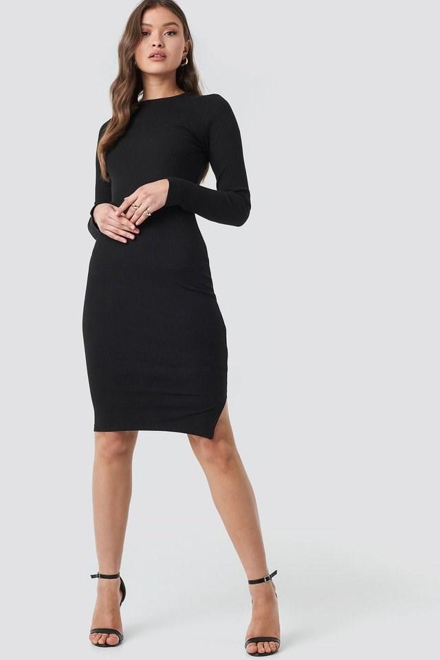 Ribbed Jersey Long Sleeve Dress Black.