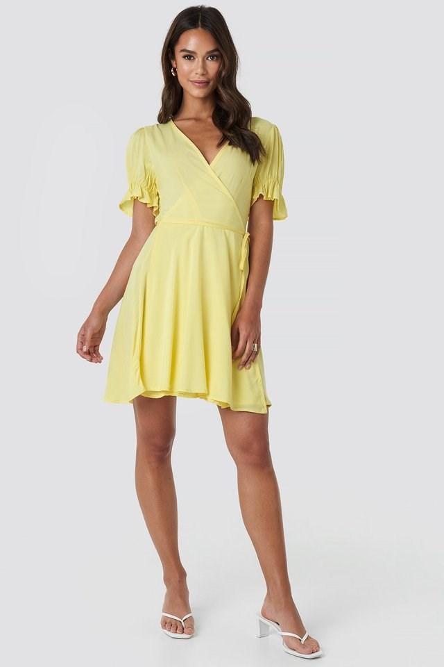 Puff Sleeve Wrap Dress Yellow.