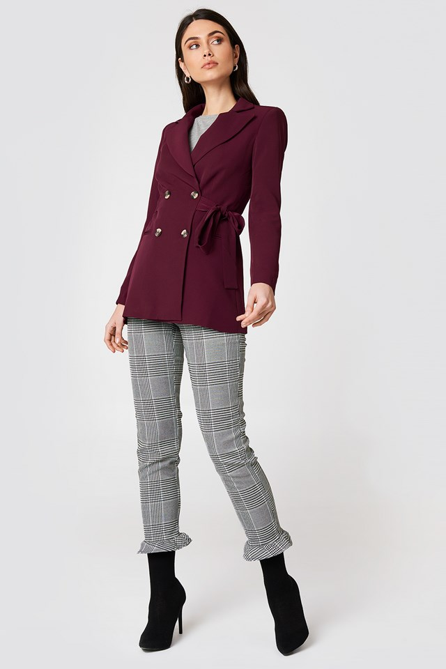 Burgundy Blazer with Checked Pants