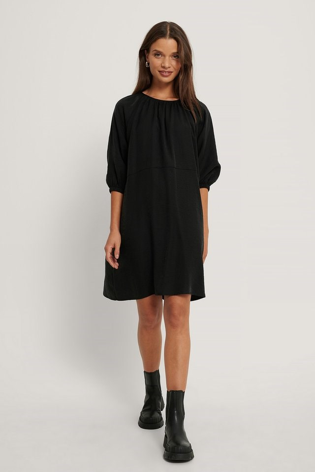 Gathered Round Neck Mini Dress Outfit.