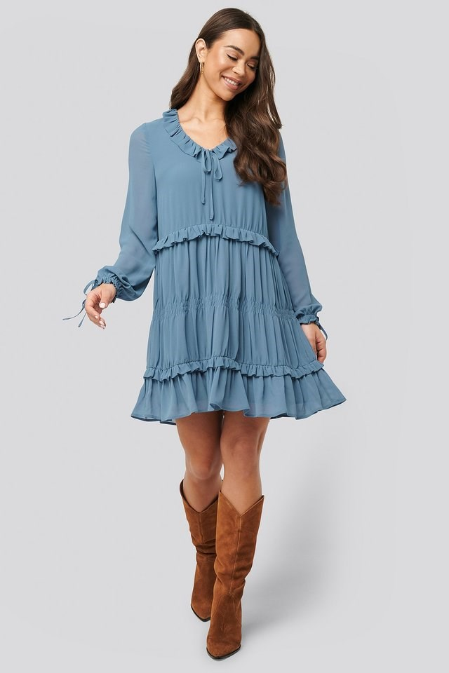 Multi Frill Flowy Mini Dress Outfit.
