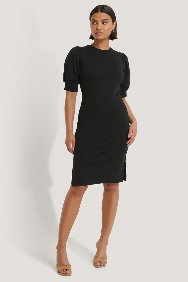 Puff Sleeve Slit Dress Black.