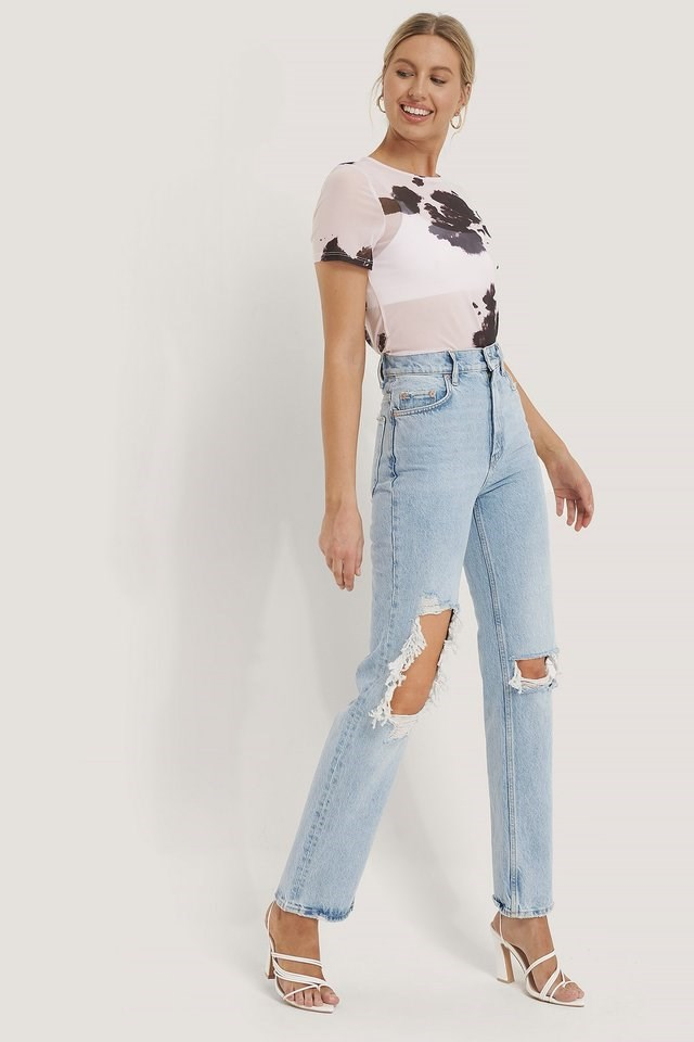 Short Sleeve Mesh Top Outfit.