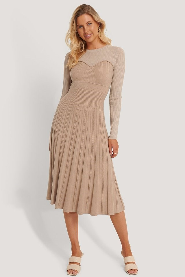 Structure Knitted Dress Outfit.
