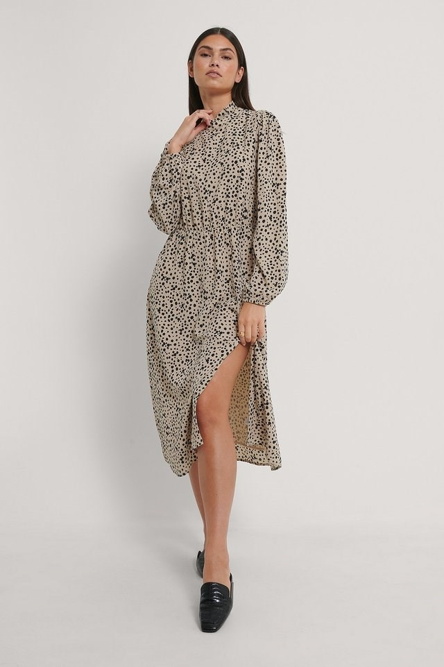 High Neck Elastic Waist Midi Dress Outfit.