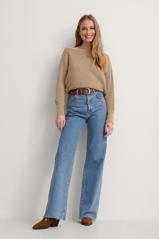 Beige Off Shoulder Knitted Sweater